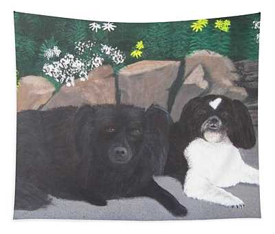 Dogs Daisy And Buttons Tapestry