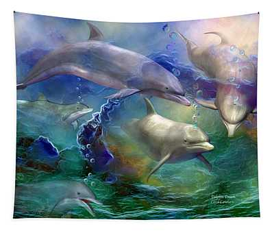 Tapestry featuring the mixed media Dolphin Dream by Carol Cavalaris