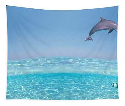 Dolphins Leaping In Air Tapestry