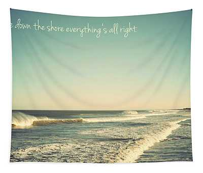 Down The Shore Seaside Heights Vintage Quote Tapestry