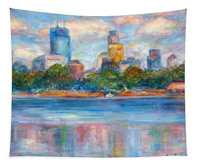 Downtown Minneapolis Skyline From Lake Calhoun II - Or Commission Your City Painting Tapestry