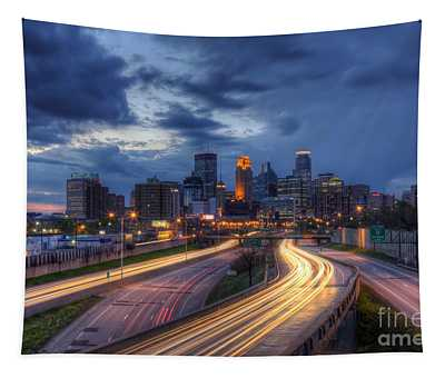 Downtown Minneapolis Skyline On 35 W Sunset Tapestry