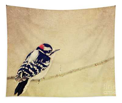 Downy Woodpecker Tapestry