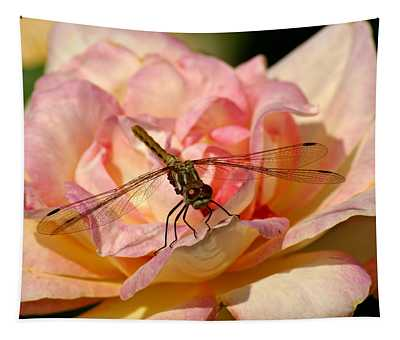 Dragonfly On A Rose Tapestry