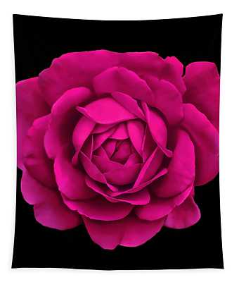 Dramatic Hot Pink Rose Portrait Tapestry