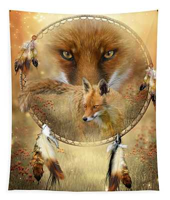 Tapestry featuring the painting Dream Catcher- Spirit Of The Red Fox by Carol Cavalaris