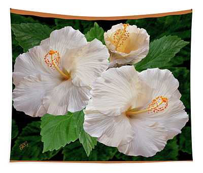 Dreamy Blooms - White Hibiscus Tapestry