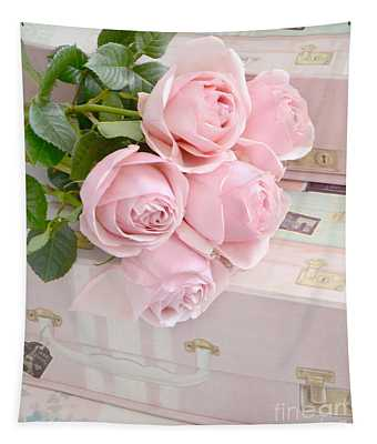 Shabby Chic Pastel Pink Roses On Pink Suitcases - Cottage Chic Romantic Cottage Pink Roses Tapestry
