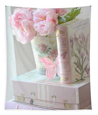 Dreamy Shabby Chic Pink Peonies And Books - Romantic Cottage Peonies Floral Art With Pink Books Tapestry