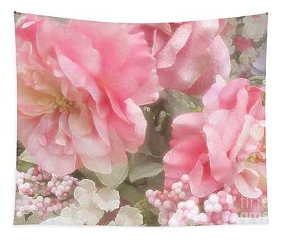 Dreamy Pink Roses, Shabby Chic Pink Roses - Romantic Roses Peonies Floral Decor Tapestry