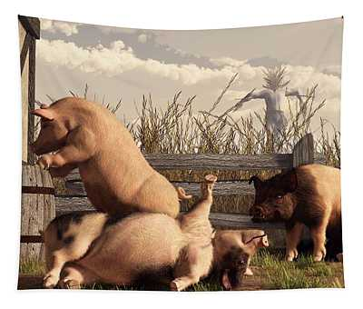 Drunken Pigs Tapestry