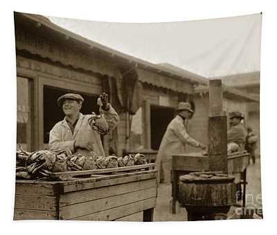 Dungeness Crabs At Fisherman's Wharf At San Francisco California. Circa 1935 Tapestry