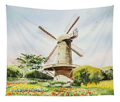 Dutch Windmill In San Francisco  Tapestry