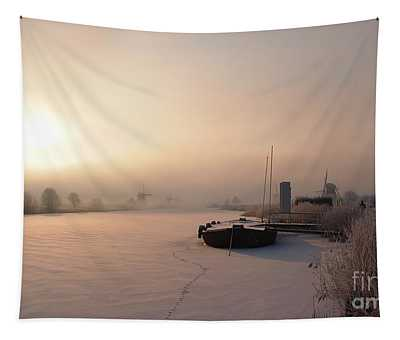 Dutch Winter Sunrise With A Boat Tapestry