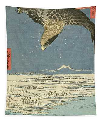 Eagle Over One Hundred Thousand Acre Plain At Susaki Tapestry