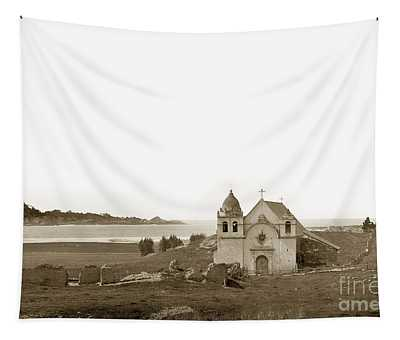 Early Carmel Mission And Point Lobos California Circa 1884 Tapestry