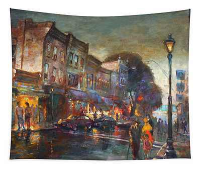 Early Evening In Main Street Nyack Tapestry