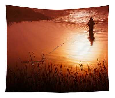 Early Morning Fishing Tapestry