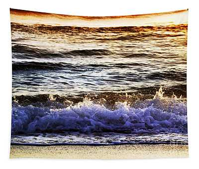 Early Morning Frothy Waves Tapestry