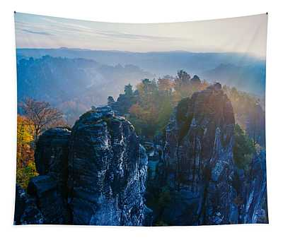 Early Morning Mist At The Bastei In The Saxon Switzerland Tapestry