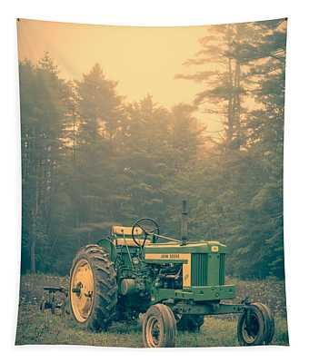 Early Morning Tractor In Farm Field Tapestry