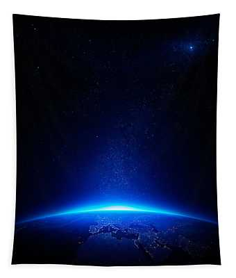 Earth At Night With City Lights Tapestry
