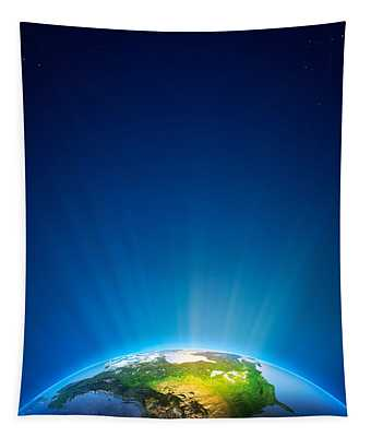 Earth Radiant Light Series - North America Tapestry