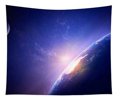 Earth Sunrise In Foggy Space Tapestry