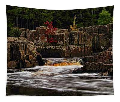 Waterfall Under Colored Leaves Tapestry