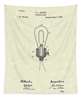 Edison Electric Lamp 1882 Patent Art Tapestry