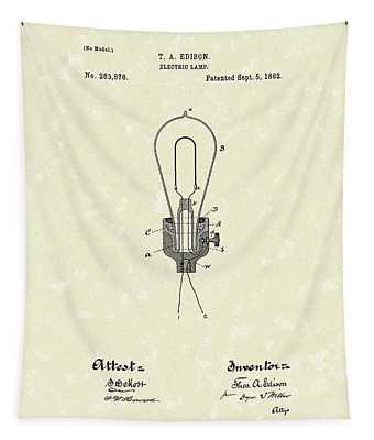Edison Electric Lamp 1882 Patent Art Tapestry