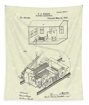Edison Locomotive 1892 Patent Art Tapestry by Prior Art Design