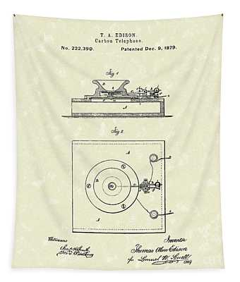 Edison Telephone 1879 Patent Art Tapestry