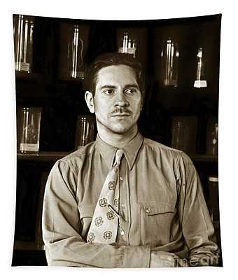 Edward F. Ricketts Nov. 1937 In His Laboratory With Specimens Bottles In Background Monterey  1897 1948 Tapestry