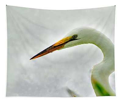 Egret Close-up Tapestry