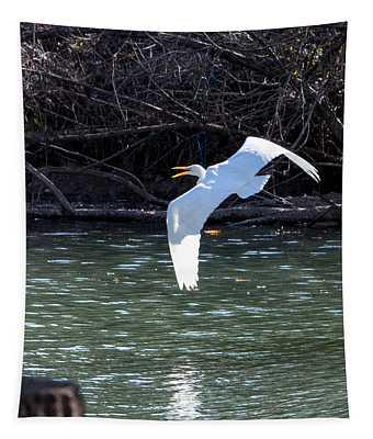 Egret In Flight Tapestry