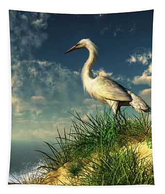 Egret In The Dunes Tapestry