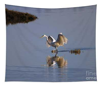 Egret Reflections Tapestry
