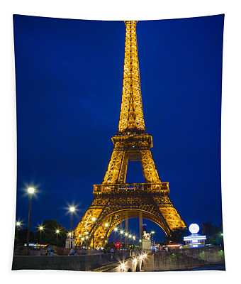Eiffel Tower By Night Tapestry