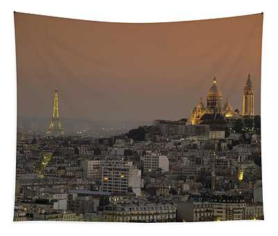 Eiffel Tower Sacred Heart Paris France Tapestry