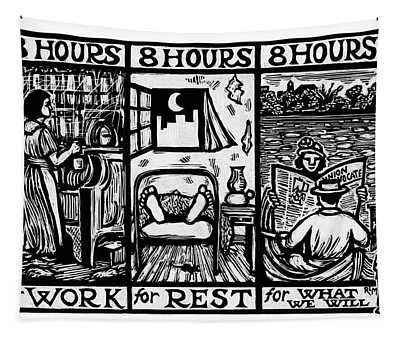 Eight Hours Tapestry by Ricardo Levins Morales