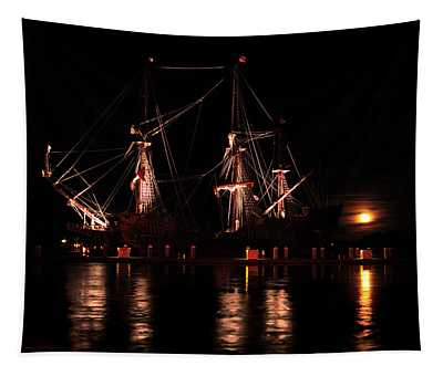 El Galeon At Full Moon Tapestry