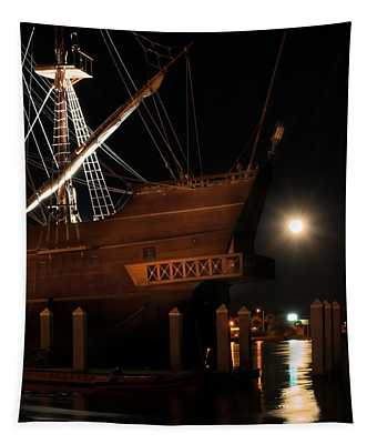 El Galeon Full Moon Rising Tapestry