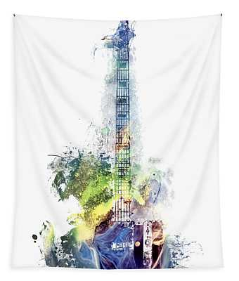 Electric Guitar Watercolor Instruments Tapestry