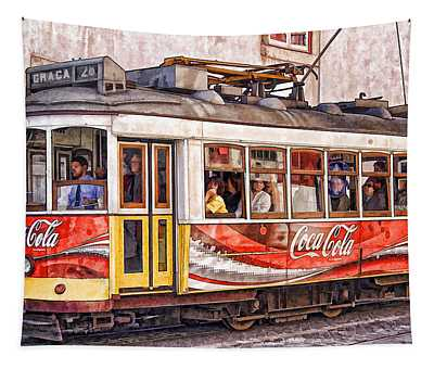 Electric Trolly Of Lisbon Tapestry
