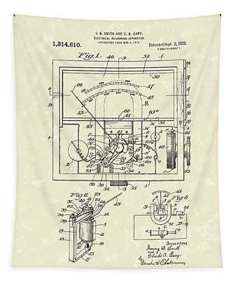 Electrical Meter 1919 Patent Art Tapestry