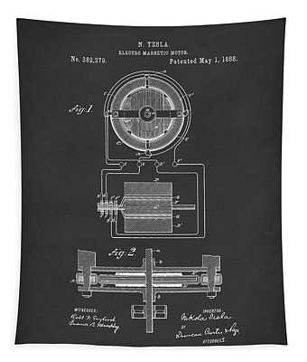 Electro Magnetic Motor Tesla 1888 Patent Art Black Tapestry