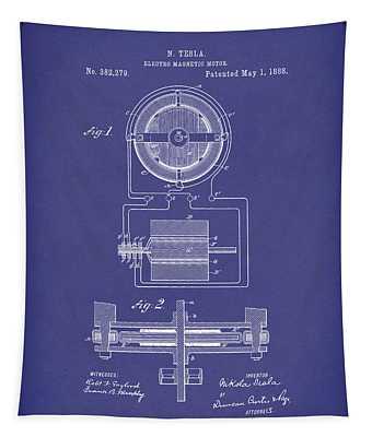 Electro Magnetic Motor Tesla 1888 Patent Art Blue Tapestry