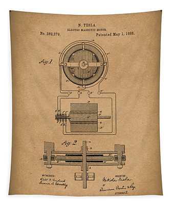 Electro Magnetic Motor Tesla 1888 Patent Art Brown Tapestry