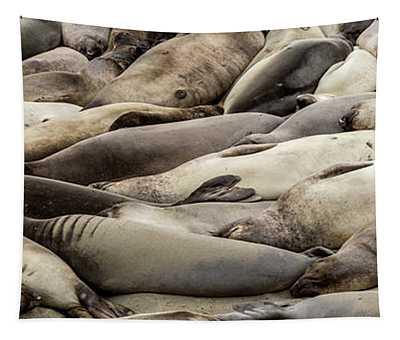 Elephant Seals On The Beach, Piedras Tapestry